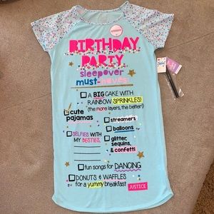 Justice Birthday Girl Autograph Nightshirt w/ Pen